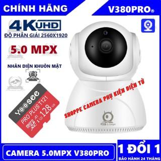 Camera 5.0Mpx V380Pro Q8 Chính Hãng Xoay 360° – Nhận Diện Khuôn Mặt – Xoay theo chuyển động