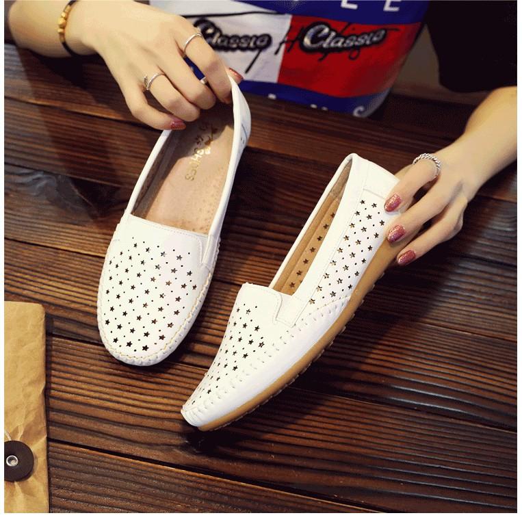 Giày Lười Nữ Giày Mọi Da Nữ Phong Cách Hàn Quốc Ngôi Sao SP34