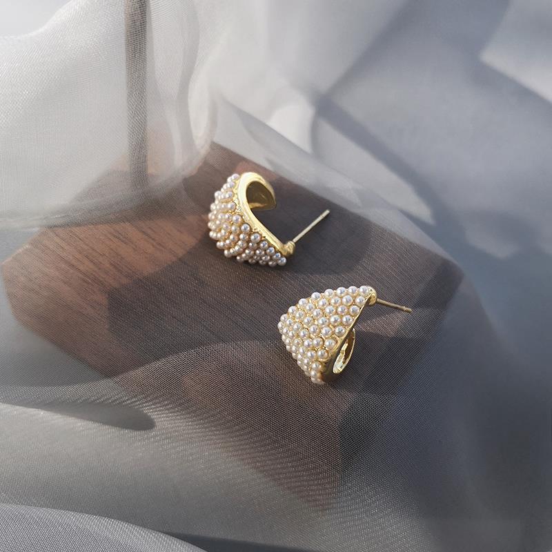 Bông Tai Mạ Bạc 925 Hình Giọt Nước Đính Ngọc Trai Xinh Xắn