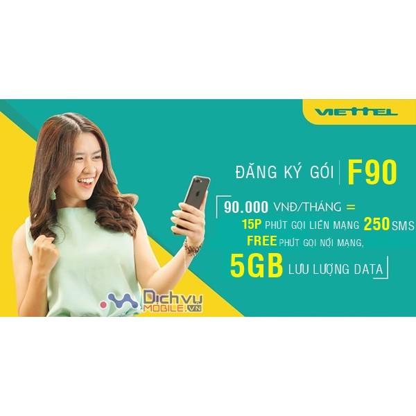 SIM VIETTEL ĐẦU 09-  Gói F90 Miễn Phí Nghe Gọi Nội Mạng Tặng 5GB/