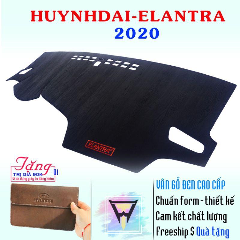 Thảm taplo HUYNHDAI - ELANTRA 2020 vân gỗ đen cao cấp