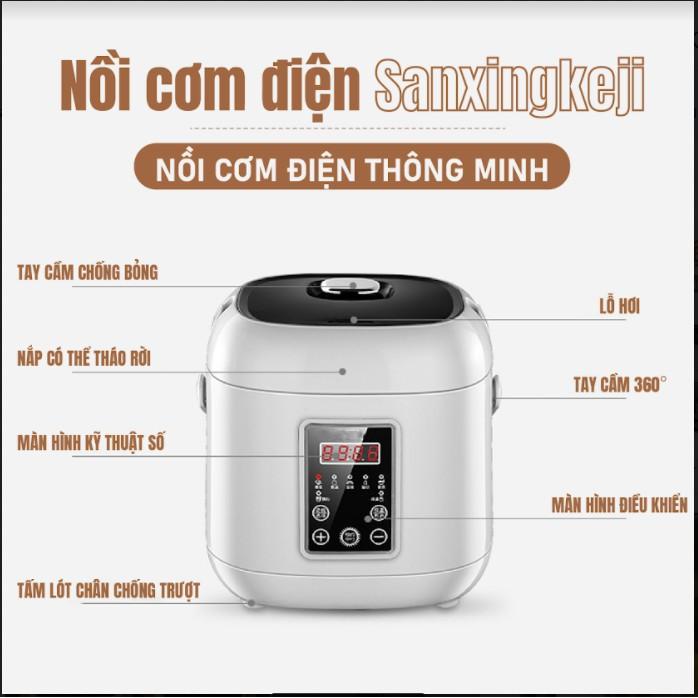 [ RẺ VÔ ĐỐI GIẢM TỚI 50%] Nồi cơm điện thông minh đa chức năng nhỏ hộ gia đình, nồi cơm 2L Sanxingkeji New 2020