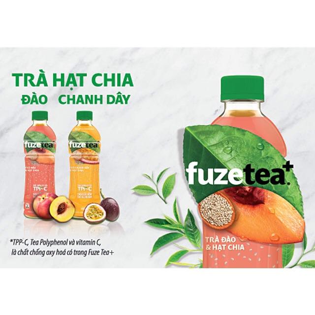 Thùng Trà đào/chanh dây và hạt chia Fuzetea 350ml*24 chai