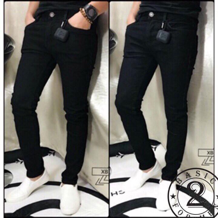 Quần jean nam đen trơn chuẩn form có size đại 33-34 k20