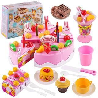 Bộ đồ chơi bánh kem sinh nhật, trái cây màu hồng 75 chi tiết
