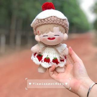 Set đầm + mũ cho doll