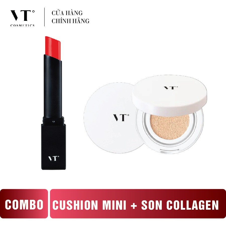 Phấn Cushion VT Water Light CC Cushion Mini 12g + Son Collagen Chống Thâm Môi VT Collagen Lipstick 3.2g