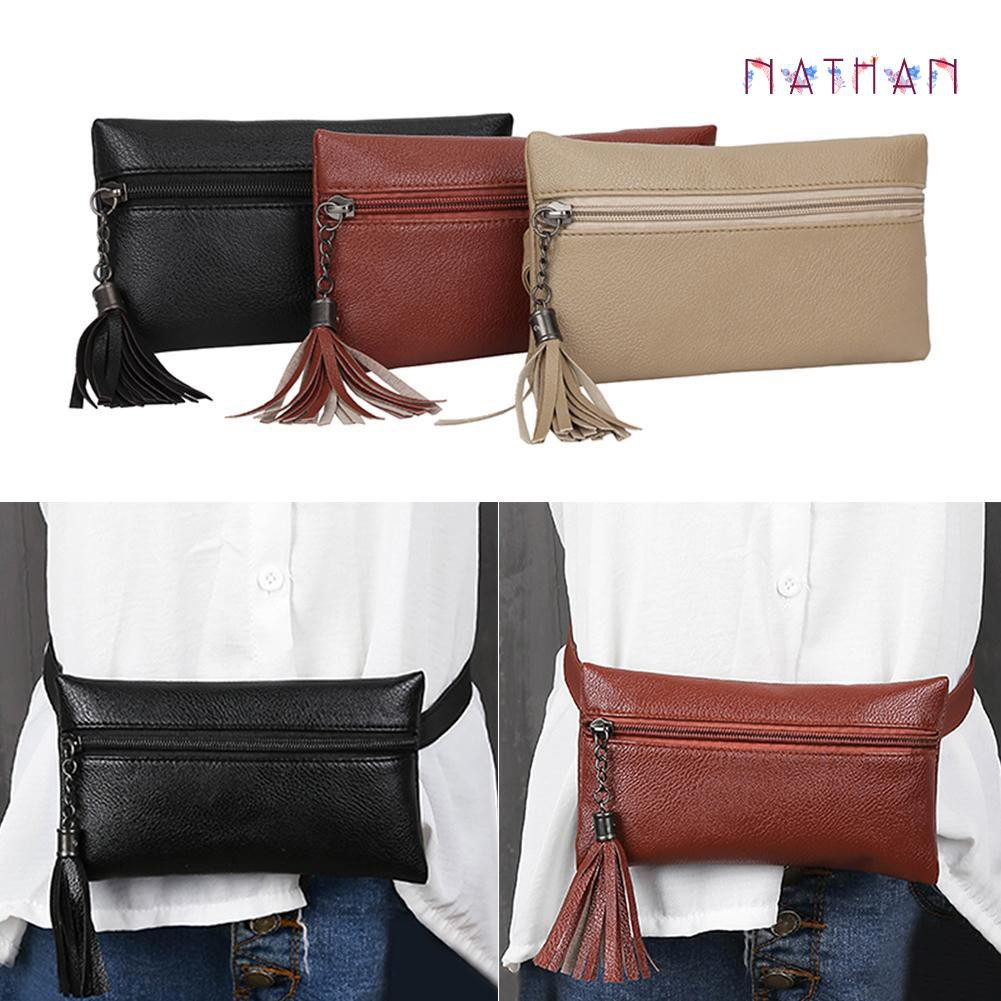 nathan fashion❀Leather Waist Fanny Pack Women Money Phone Belt Purse Tassel Chest Handbags