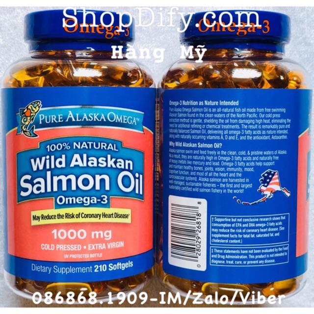 210 Viên Dầu cá hồi Pure Alaska Omega 3 Wild Salmon Oil 1000 mg, nguyên chất 100% từ thiên nhiên {Da - 3420279 , 541094006 , 322_541094006 , 590000 , 210-Vien-Dau-ca-hoi-Pure-Alaska-Omega-3-Wild-Salmon-Oil-1000-mg-nguyen-chat-100Phan-Tram-tu-thien-nhien-Da-322_541094006 , shopee.vn , 210 Viên Dầu cá hồi Pure Alaska Omega 3 Wild Salmon Oil 1000 mg, ngu