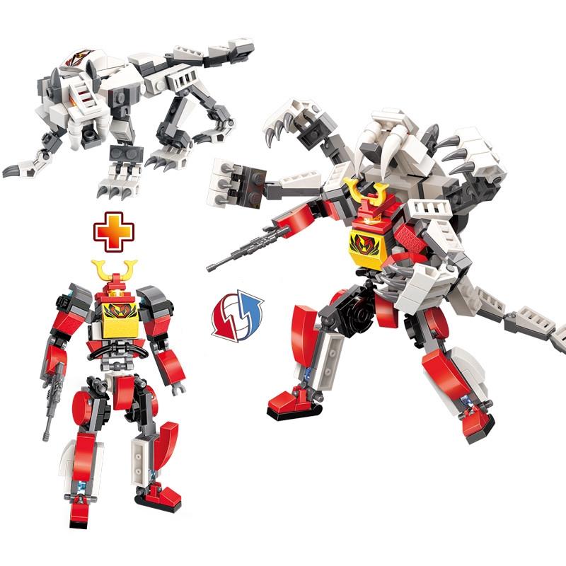 Đồ chơi giáo dục xếp hình mô hình lắp ráp siêu nhân và quái thú 2 trong 1 cho bé sáng tạo