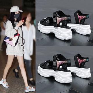 Giày sandal ulzzang nữ đế cao 6p hình chụp thật thumbnail