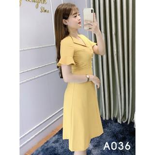 Đầm Công Sở Dáng Suông Cổ Bẻ – Thời trang Poro A036 Màu Vàng Chanh