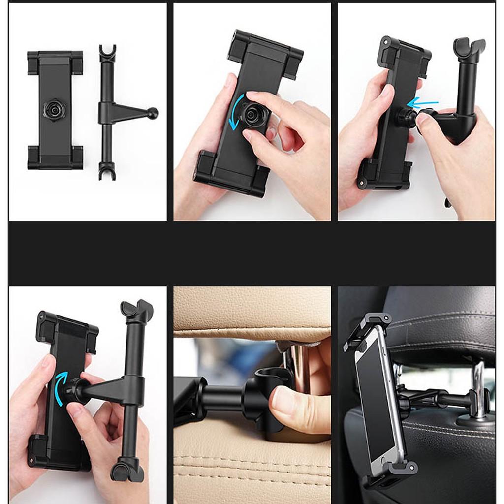 Giá Đỡ Điện Thoại ipad xoay 360 treo ghế sau ô tô (xe hơi), giá đỡ ipad khớp kéo dài xoay dọc ngang bằng kim loại cao cấ