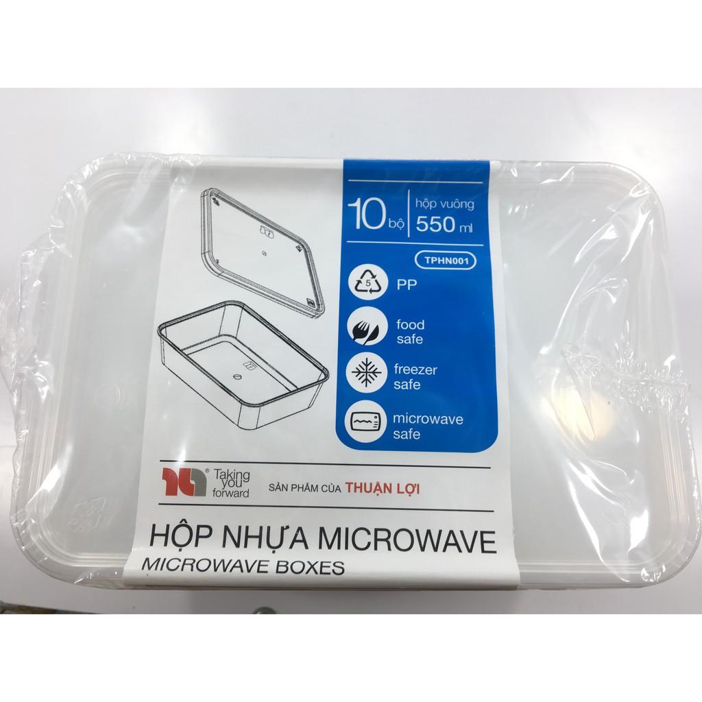 10 hộp nhựa đựng và bảo quản thực phẩm microwave thuận lợi 550ml/650ml