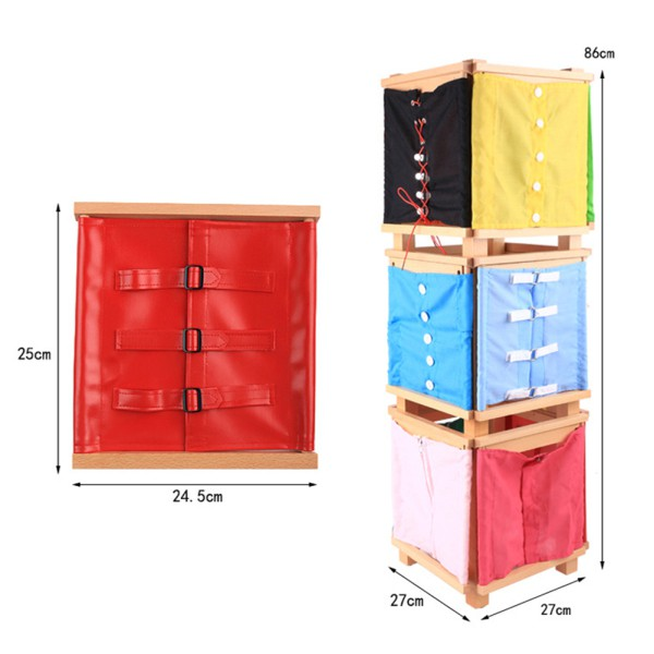 Kids Wooden Montessori Toys Toddler Practical Life Buttons Dressing Frame for