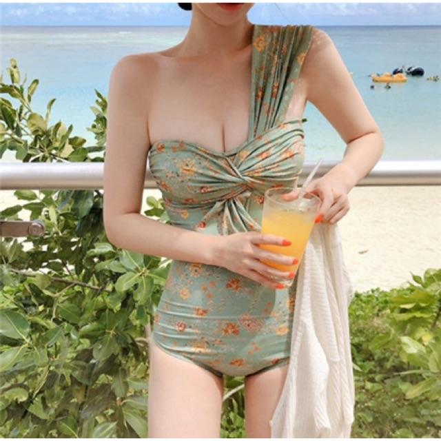 Bộ đồ bơi , bikini nữ liền mảnh nơ ngực vạt chéo | Có Bill |