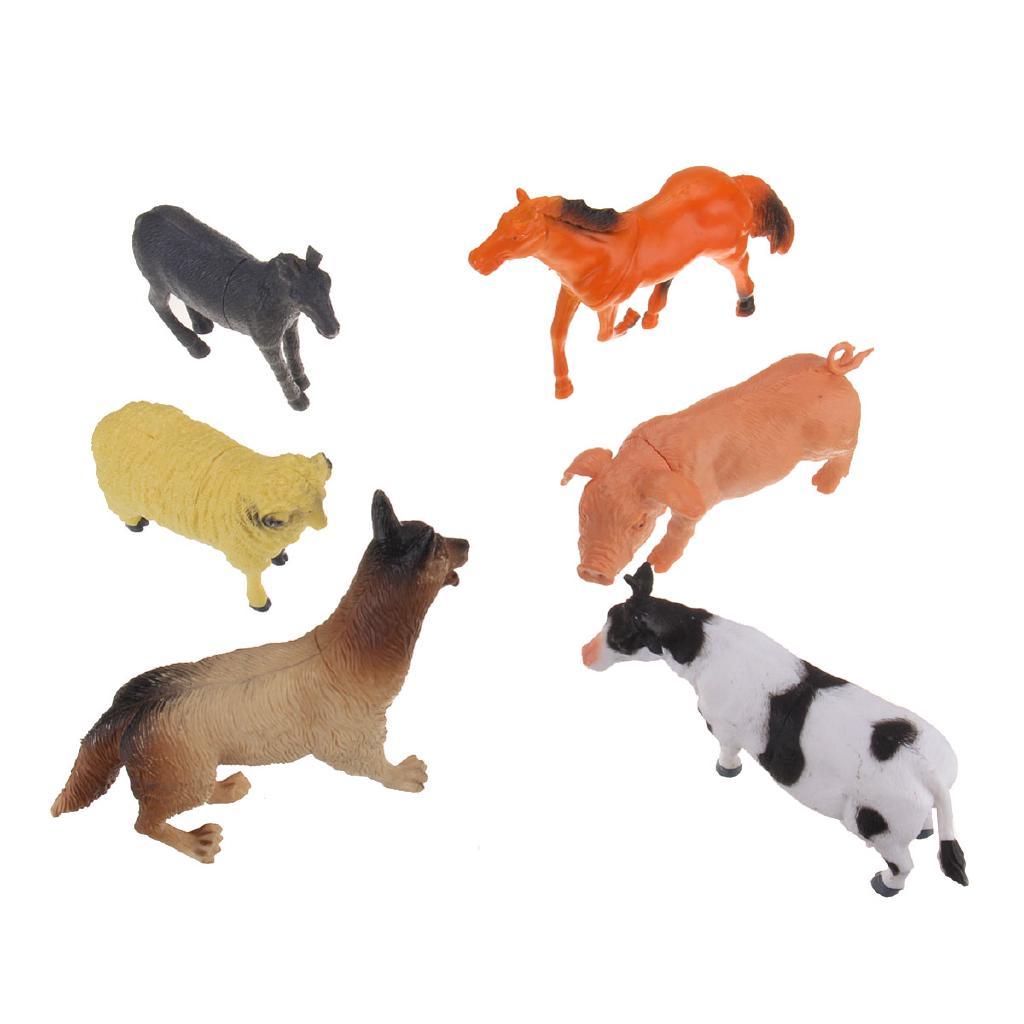 6PCS Big Farm Yard Animals Figure Model Kids Toy Pig Cow Donkey Horse Dog Sheep