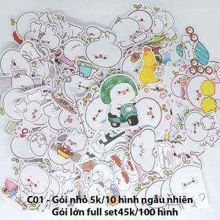 Sticker nhám cán mờ bé cỏ dán trang trí planer, scrapbook,… size nhỏ 3-5cm