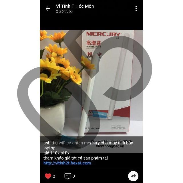 usb thu wifi có anten mercury MW150UH cho máy tính bàn laptop shop05 Giá chỉ 160.000₫