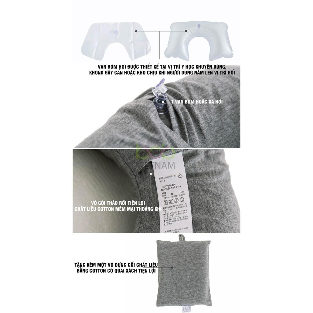Gối Ngủ Văn Phòng Kê Đầu Hình Chữ U Bằng Hơi Chất Liệu Cotton Tặng Kèm Gối Bọc Gối