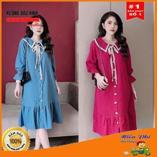 Váy bầu thời trang thiết kế tay dài M164 chất lụa hàn châu freesize từ 45 đến 70kg
