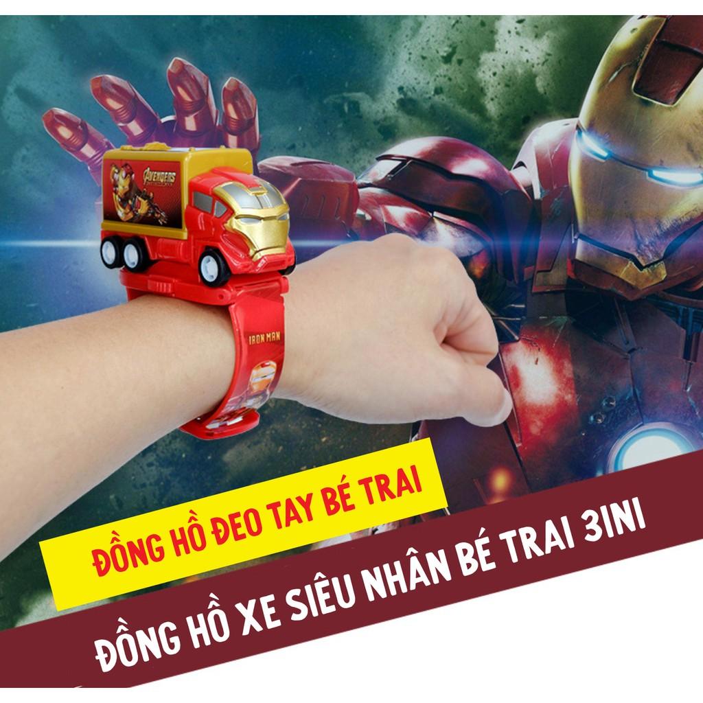 Đồng hồ đeo tay bé trai xe ô tô đồ chơi siêu nhân 3in1 chiếu hình kiêm đồng hồ và xe đồ chơi