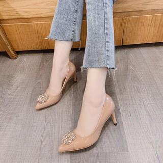 Bán sỉ Giày cao gót nữ da bóng đính hoa đá vàng gót nhọn 8p siêu chảnh cực hot -Kèm ảnh thật thumbnail
