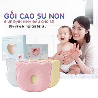 Gối cao su non có lỗ thoáng mềm mại chống bẹp, móp méo đầu cong vẹo cột sống cho bé, trẻ em sơ sinh