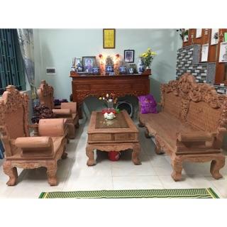 Bộ bàn ghế hoàng gia Louis gỗ hương đá