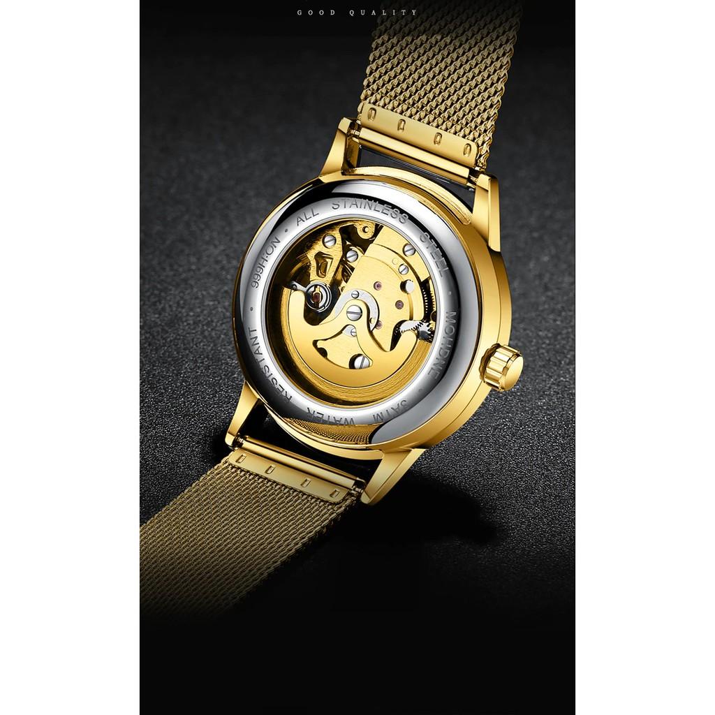 Đồng hồ thời trang cơ tự động - lộ cơ (skeleton) nam dây lưới hợp kim FNGEEN PKHRFNG003