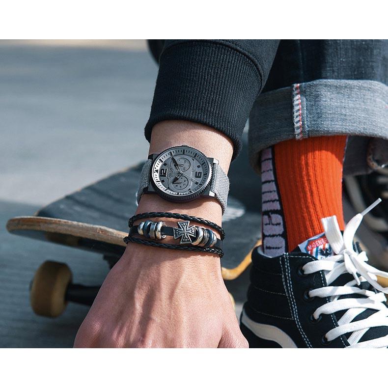 [Mã FARSBRT52 giảm 20% đơn từ 249K] Đồng hồ nam Julius Hàn Quốc chính hãng JAH-115A Kem