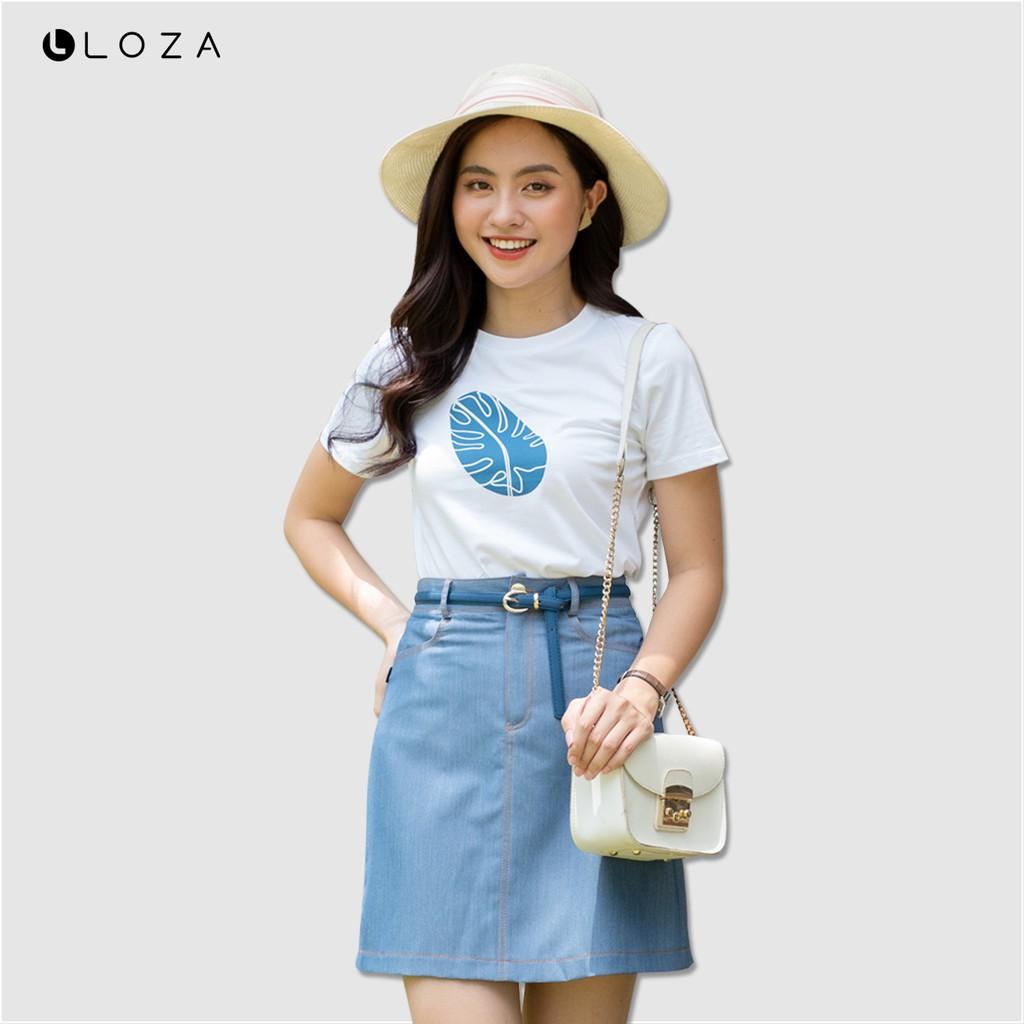 Áo phông nữ in hình lá LOZA PT5035