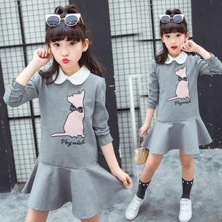 ✨CindyMom✨ Đầm suông đuôi cá dài tay thời trang đáng yêu cho bé Quần áo trẻ em
