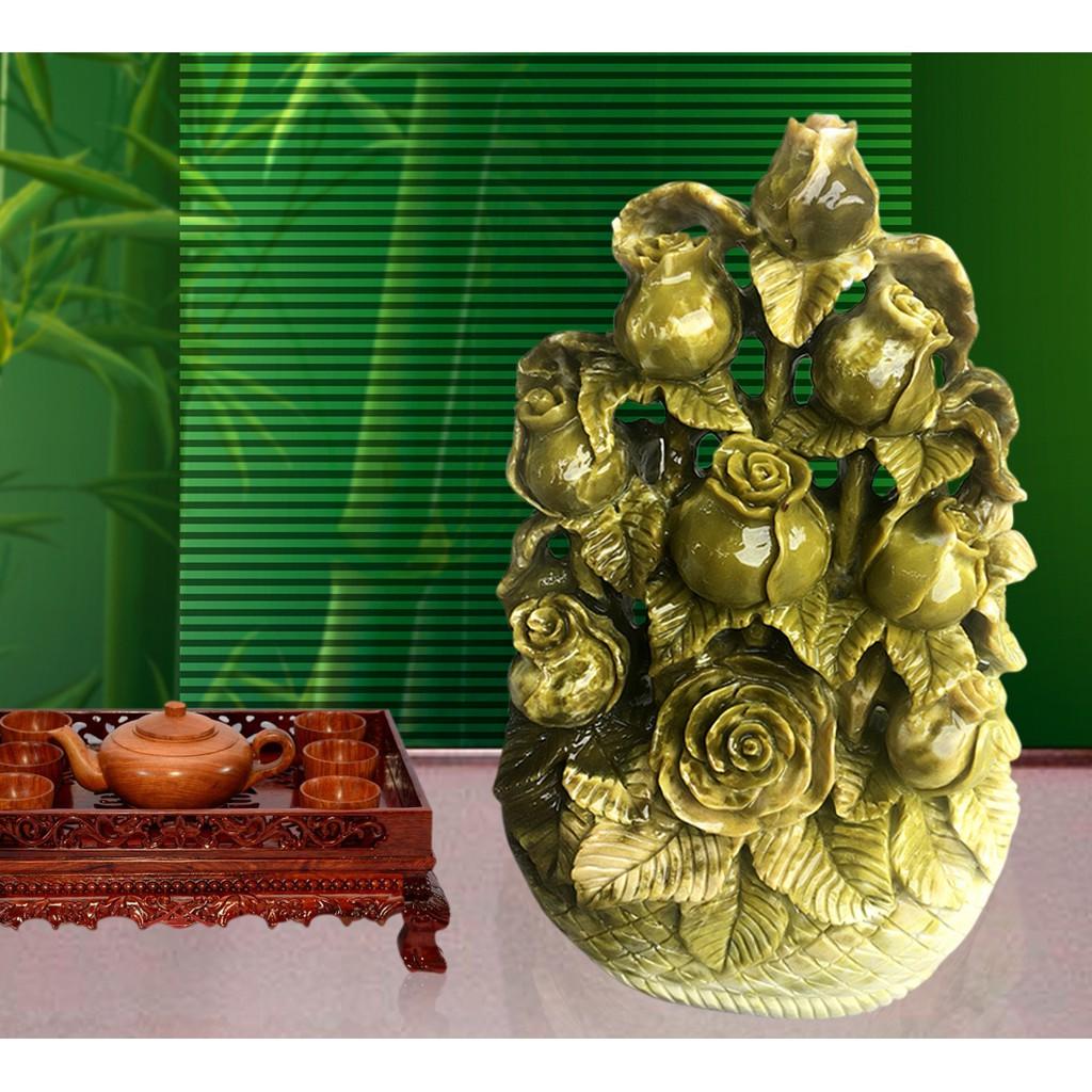 Lẵng hoa hồng cao cấp bằng đá ngọc Serpentine ( xuất xứ Việt