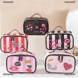 {seasonsin}PU Women Cosmetic Bag MultifunctionToiletry Storage Bag Travel Makeup Case