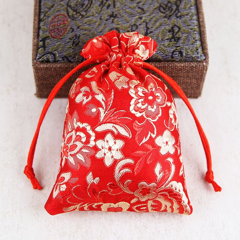 túi gấm đỏ đựng trang sức 10x13cm
