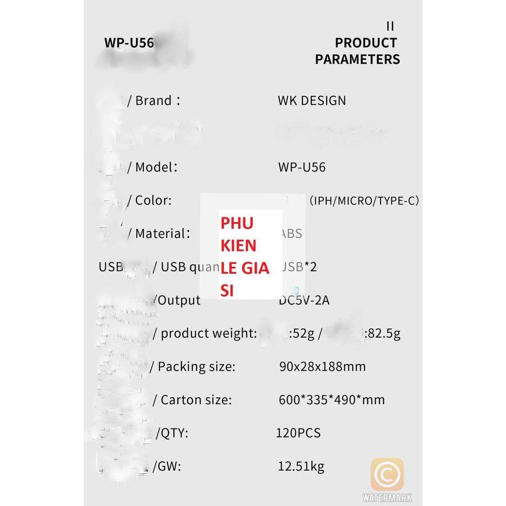 Cốc sạc 2 cổng WEKOME WK WP U56 dòng 2A sạc thông minh