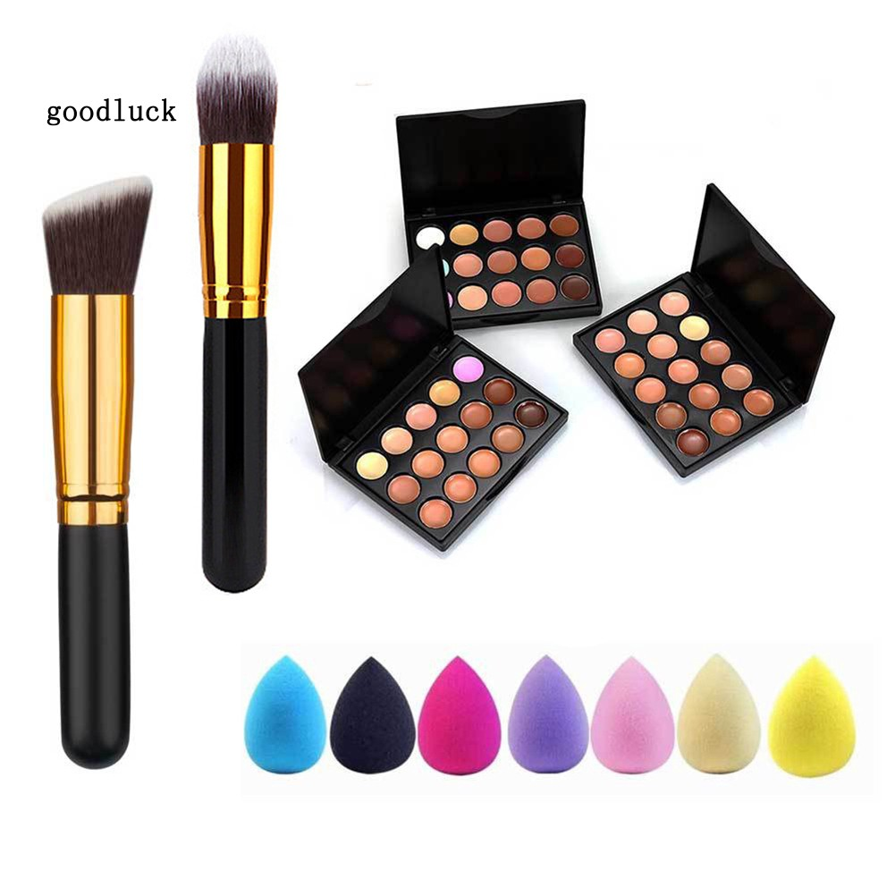 GLK_15 Colors Spot Acne Corrector Face Concealer Cream Makeup Brush Powder Puff Set