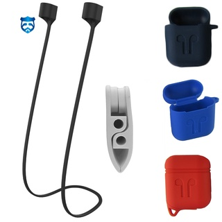 Solid Color Silicone Anti-lost Ear Buds Cable Charge Box Cover Case for Airpods
