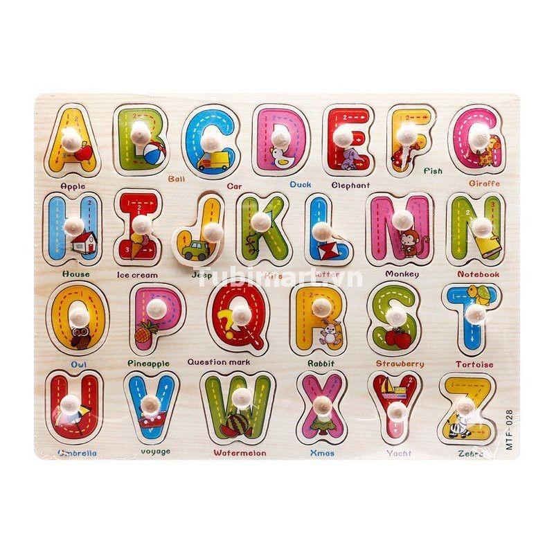 Bảng núm xếp hình chữ gỗ dạy nhận biết
