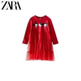Váy Zara Mickey đỏ phối ren chân dưới