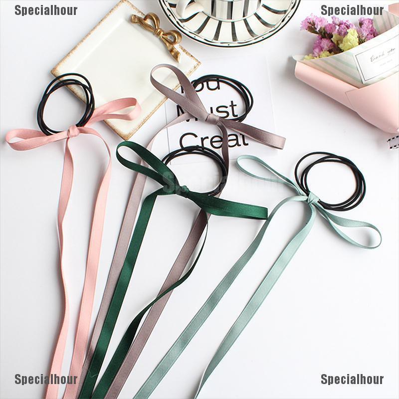 Specialhour 2Pcs Women Girls Hair Bow Silk ribbon Long streamers hair Rope Beach hair SP