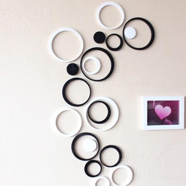 Bộ 20 hình tròn gỗ trang trí phòng khách ấn tượng