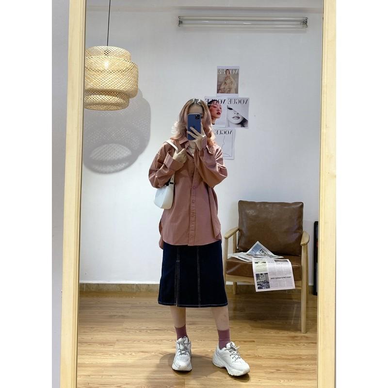 Áo sơ mi trơn MINION CLOTHING dài tay Unisex nam nữ oversize form rộng Ulzzang Streetwear Hàn Quốc vải dày dặn A3004