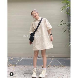 Váy suông polo kaki,váy polo nữ Đầm dáng suông màu be trơn tay lỡ cá tính Ulzzang thumbnail