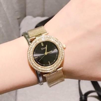 Đồng hồ nữ Dior dây thép không gỉ viền đính đá sang trọng mã DO89