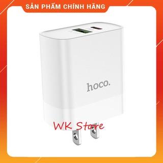 Củ sạc nhanh Hoco C80 18w (QC 3.0, PD) 2 cổng sạc cho iphone và android (chính hãng,BH 6T)
