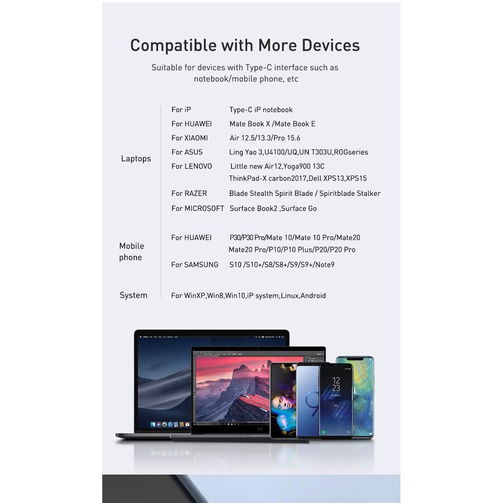 Baseus Đầu Đọc Thẻ Nhớ Usb 3.0 Type C Sang Sd Micro Sd Tf Cho Laptop
