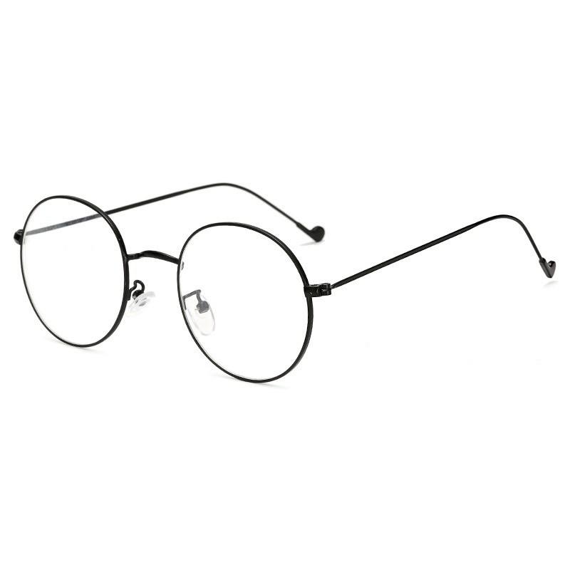 Gọng kính cận Hàn Quốc tròn kim loại đen/bạc hot trend