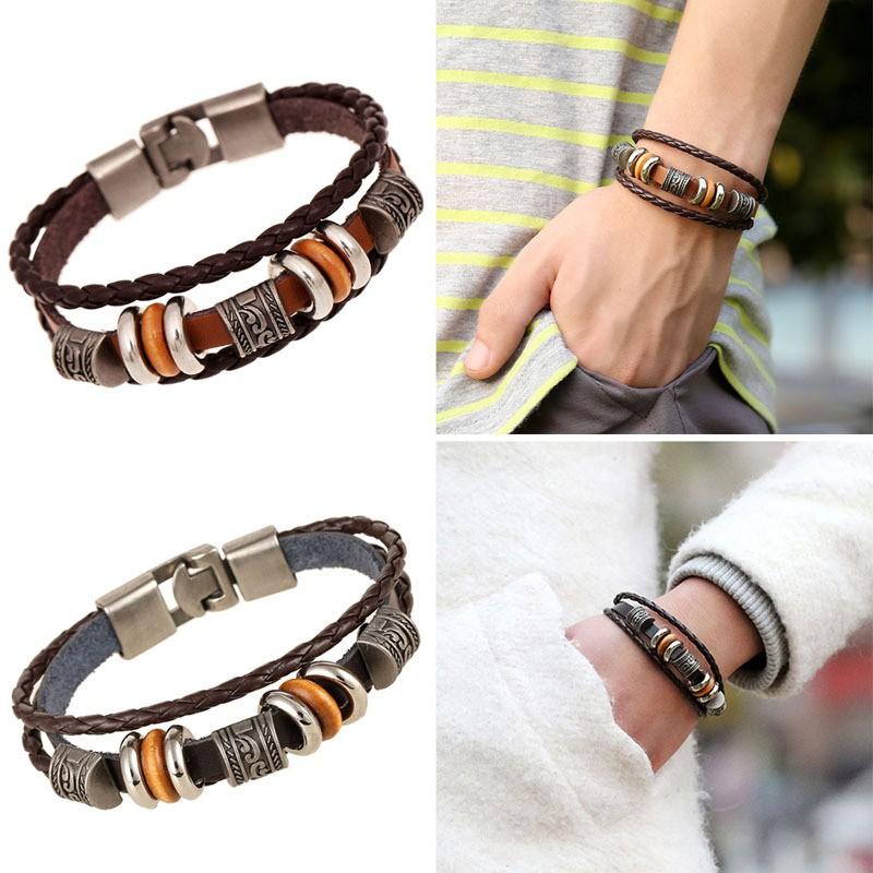Men Braided Bracelet Vintage PU Leather Handmade Woven Bangles Jewelry Bracelets Gift